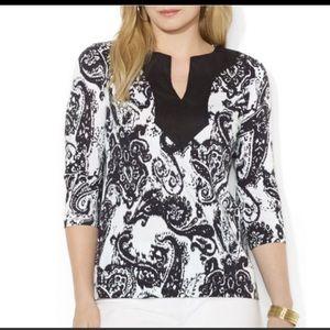 Ralph Lauren | Black & White paisley tunic sz 1X